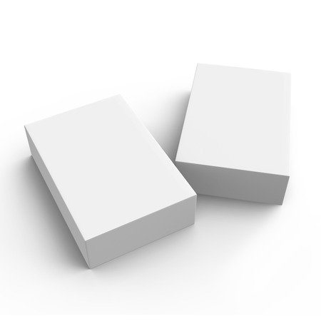 two 3d rendering blank boxes, isolated white background Stock Photo