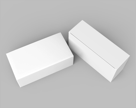 two 3d rendering blank boxes, isolated gray background