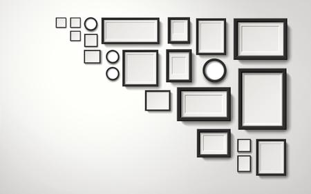 여러 종류의 그림 프레임 장식 벽에 매달려, 3d 그림 현실적인 스타일