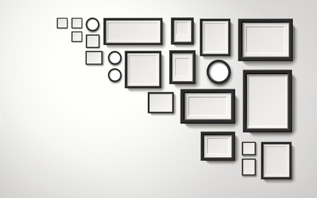 Verscheidene types-omlijstingendecoratie die op de muur, 3d illustratie realistische stijl hangen