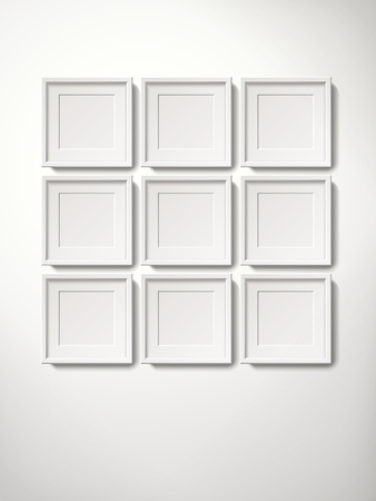 Blank white picture frames collection in an orderly way hanging on the wall, 3d illustration realistic style Illusztráció