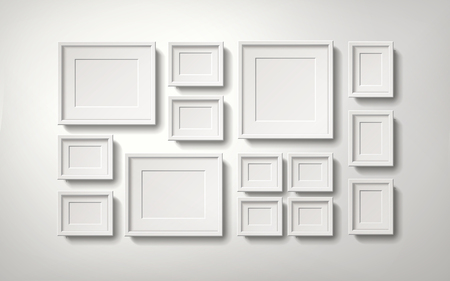 Blank white picture frames collection in an orderly way hanging on the wall, 3d illustration realistic style Illustration