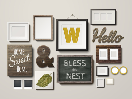 decoration style: Blank picture frames decoration in different shapes and chalkboard hanging on the wall, 3d illustration in realistic style Illustration
