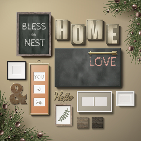 Blank picture frames decoration and poster paper hanging on the pink wall, 3d illustration in realistic style Illustration