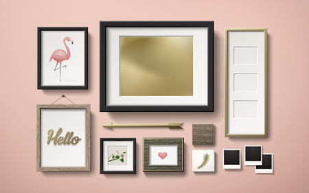 Blank picture frames decoration in different shapes hanging on the pink wall, 3d illustration in realistic style Illustration