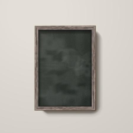 Leeg bord met houten frame geïsoleerd op de muur in 3d illustratie Stockfoto - 79734254