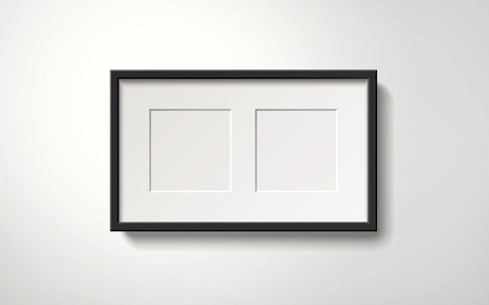 blank spaces: Isolated blank picture frame with spaces for photos hanging on the wall, 3d illustration realistic style