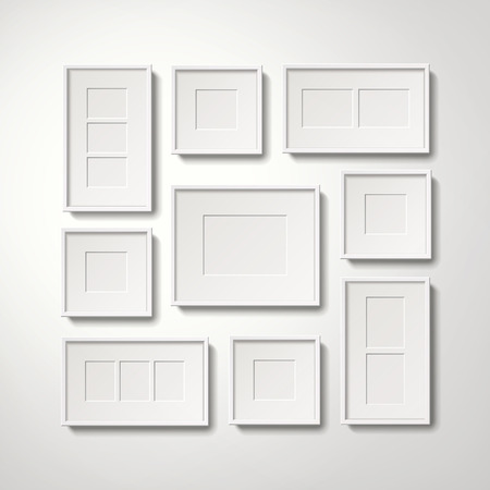 Blank white picture frames collection hanging on the wall, 3d illustration realistic style Ilustrace