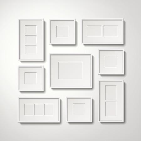 Het lege witte omlijstingeninzameling hangen op de muur, 3d illustratie realistische stijl