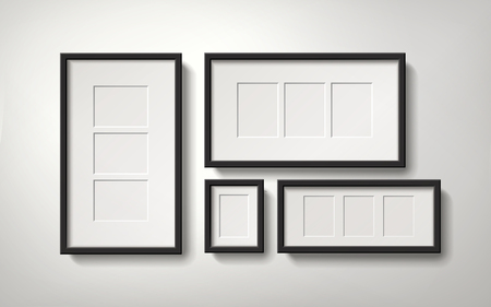 Blank picture frames with several spaces for placing photos, 3d illustration realistic style Ilustração