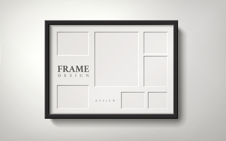 Blank picture frame with several spaces for placing photos, 3d illustration realistic style Ilustração