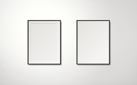 Blank picture frames collection hanging on the wall in orderly way, 3d illustration realistic style