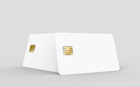 2 つ空白チップ カードは分離光灰色の背景、3 d レンダリング、デザイン要素として使用できます。 写真素材