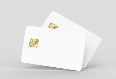 two blank chip cards, can be used as design elements, isolated light gray background, 3d rendering Stock Photo - 79880101