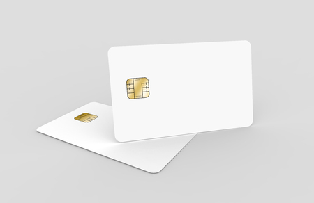 two blank chip cards, can be used as design elements, isolated light gray background, 3d rendering Stock Photo - 79880109
