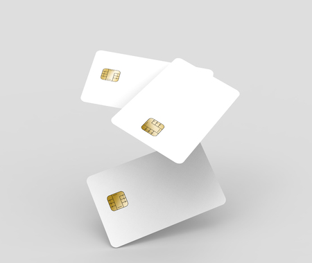 three blank chip cards, can be used as design elements, isolated light gray background, 3d rendering Stock Photo - 79880111