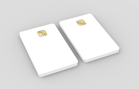 blank chip cards for design uses, isolated light gray background, 3d rendering Stock Photo