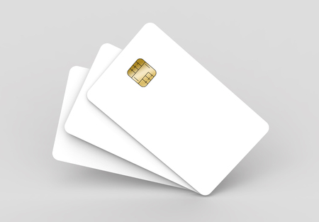 three blank chip cards, can be used as design elements, isolated light gray background, 3d rendering Stock Photo