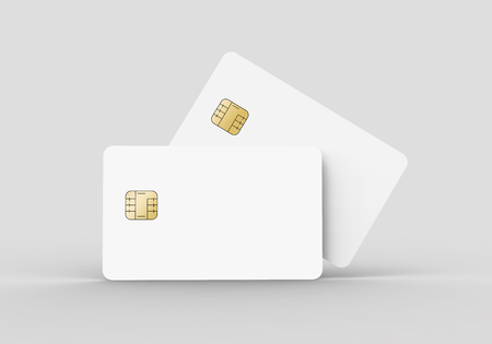 two blank chip cards, can be used as design elements, isolated light gray background, 3d rendering Stock Photo - 79880136