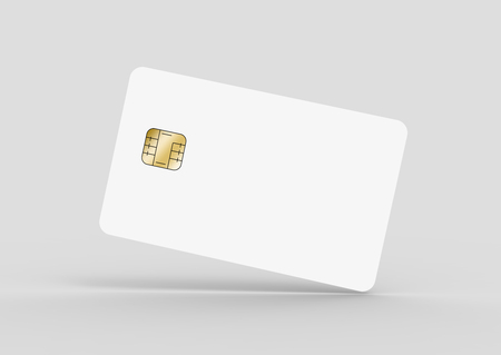 tilt blank chip card for design uses, isolated light gray background, 3d rendering Stock Photo - 79880145