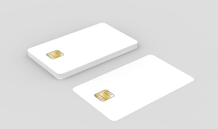 blank chip cards for design uses, isolated light gray background, 3d rendering Stock Photo - 79880141
