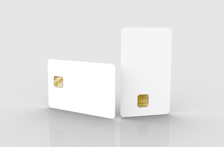 two blank chip cards, can be used as design elements, isolated light gray background, 3d rendering Stock Photo - 79880142