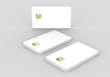 blank chip cards for design uses, isolated light gray background, 3d rendering Stock Photo - 79880146