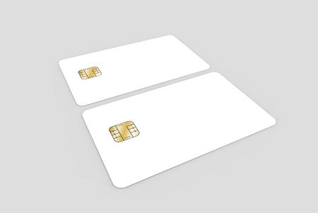 two blank chip cards, can be used as design elements, isolated light gray background, 3d rendering
