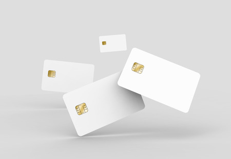 blank chip cards for design uses, isolated light gray background, 3d rendering Stock Photo - 79880151