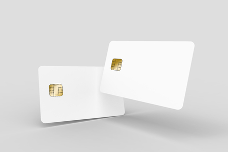 two blank chip cards, can be used as design elements, isolated light gray background, 3d rendering Stock Photo - 79880152