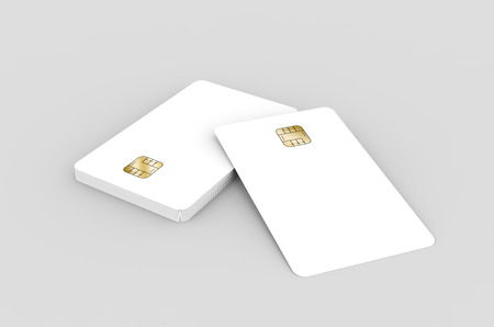 blank chip cards for design uses, isolated light gray background, 3d rendering Stock Photo - 79880153