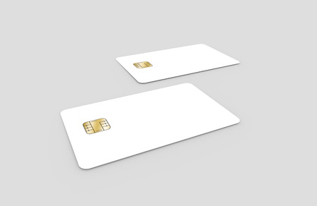 two blank chip cards, can be used as design elements, isolated light gray background, 3d rendering Stock Photo - 79880207