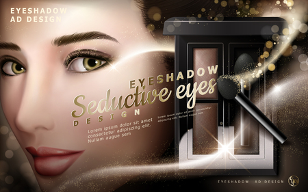 eye shadow ad with a mysterious female model smile, 3d illustration
