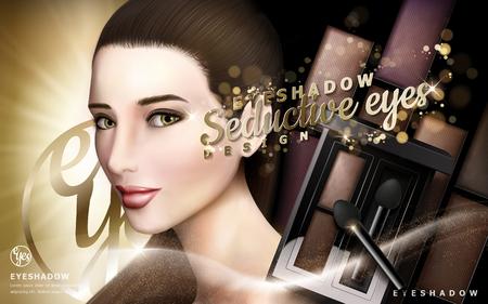 반짝이와 매력적인 여성 모델, 3d 일러스트와 함께 눈 그림자 광고 일러스트