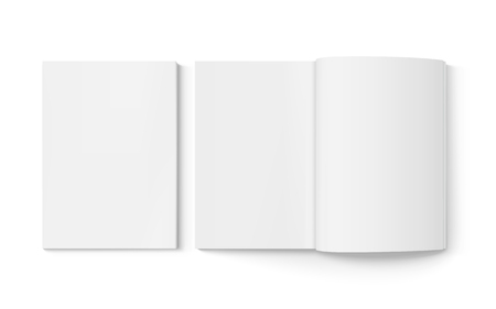 Two blank books 3d illustration, one open, can be used as design element, isolated white background, top view