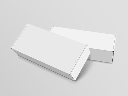 Two right tilt white blank boxes, isolated gray background, 3d illustration, elevated view