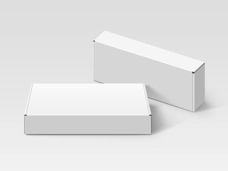 Two white blank boxes, one right tilt, isolated gray background, 3d illustration, elevated view