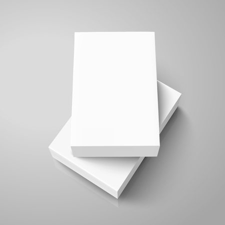 One blank flat paper box on a left tilt one, 3d illustration, can be used as design element, isolated gray background, elevated view