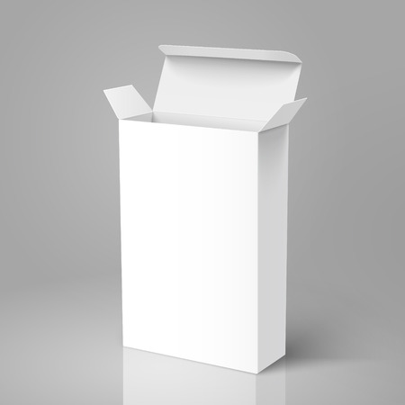Open right tilt blank paper tall box 3d illustration, can be used as design element, isolated gray background, elevated view
