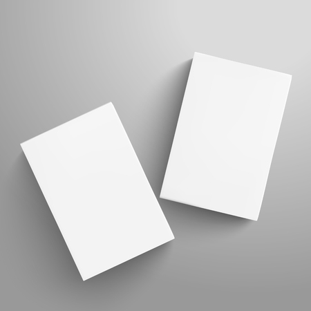 Two tilt blank flat paper boxes 3d illustration, can be used as design element, isolated gray background, top view 矢量图像