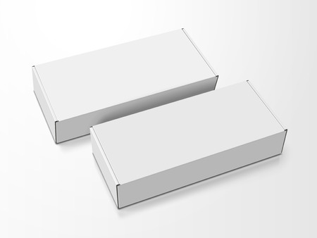 Two left tilt white blank boxes, isolated white background, 3d illustration, elevated view