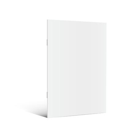 空立っている左のパンフレット 3 d イラストレーションを傾斜、サイドビュー、孤立した白い背景デザイン要素として使用できます。  イラスト・ベクター素材
