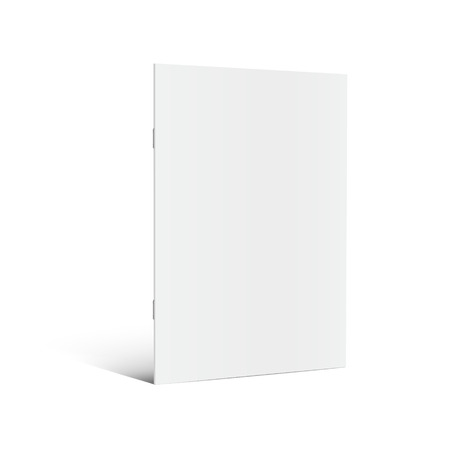 Blank standing left tilt brochure 3d illustration, can be used as design element, isolated white background, side view