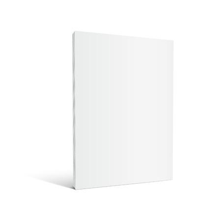 空白左立っている厚い本 3 d イラストレーションを傾斜、デザイン要素、孤立した白い背景、サイドビューとして使用できます。  イラスト・ベクター素材