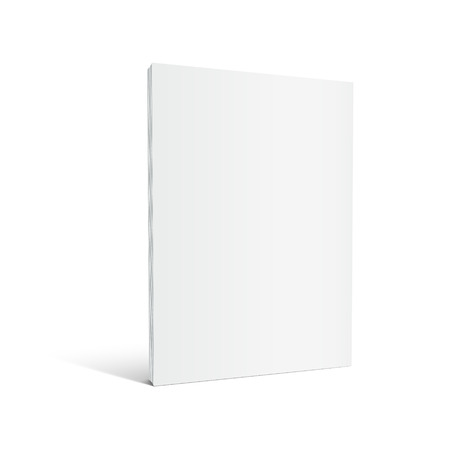 Blank left tilt standing thick book 3d illustration, can be used as design element, isolated white background, side view