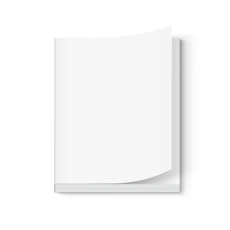 blank thick book 3d illustration, page turned, can be used as design element, isolated white background, elevated view Illustration