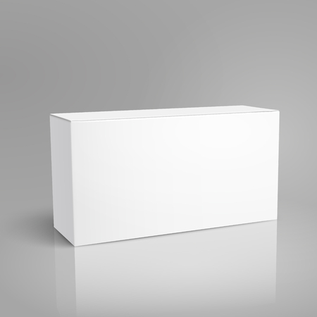 Left tilt blank paper box 3d illustration, can be used as design element, isolated gray background, elevated view
