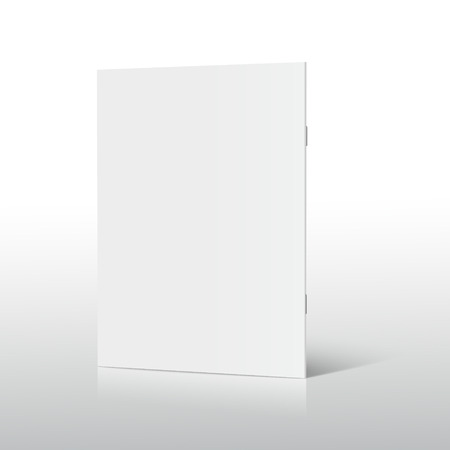 Blank standing right tilt brochure 3d illustration, can be used as design element, isolated shadowy white background, side view Illustration