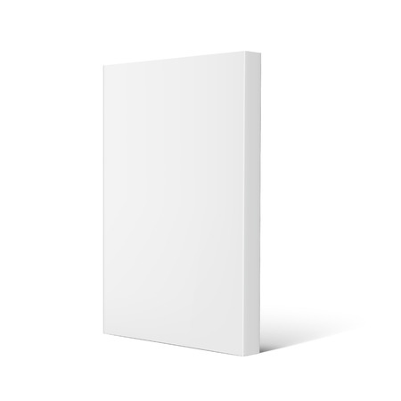 Blank right tilt standing thick book 3d illustration, can be used as design element, isolated white background, side view
