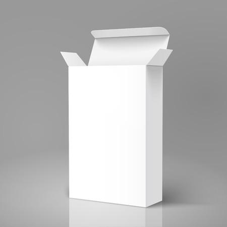Open right tilt blank paper tall box 3d illustration, can be used as design element, isolated gray background, side view
